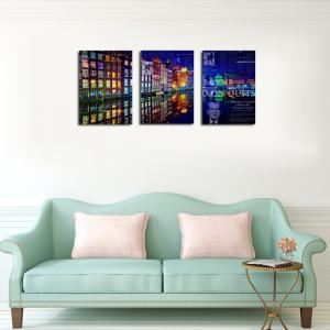 QiaoJiaHuaYuan No Frame Canvas Living Room Bedroom Background Abstract City Night View Decoration Print -