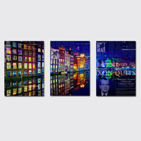 Chic QiaoJiaHuaYuan No Frame Canvas Living Room Bedroom Background Abstract City Night View Decoration Print