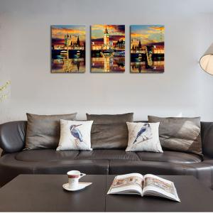 QiaoJiaHuaYuan No Frame Canvas Three Pieces of The Living Room Bedroom Background Decorated With the Night View of The -
