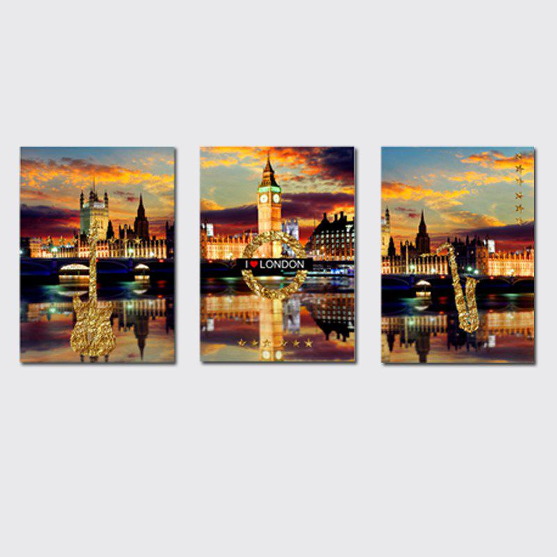 Sale QiaoJiaHuaYuan No Frame Canvas Three Pieces of The Living Room Bedroom Background Decorated With the Night View of The