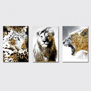 QiaoJiaHuaYuan No Frame Canvas Three - Piece Living Room Sofa Background Decoration Hanging Painting Animal Tiger Lion -