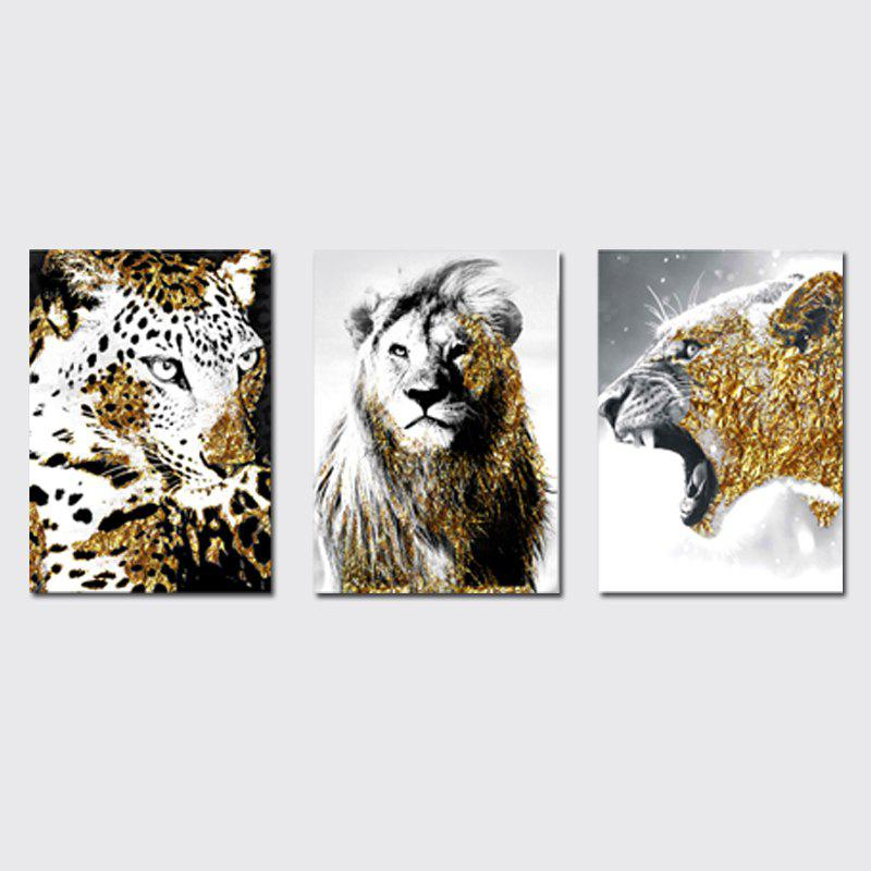 Fancy QiaoJiaHuaYuan No Frame Canvas Three - Piece Living Room Sofa Background Decoration Hanging Painting Animal Tiger Lion