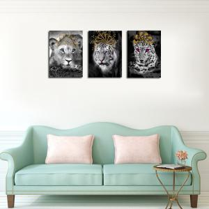 QiaoJiaHuaYuan No Frame Canvas Living Room Bedroom Triplets Wearing the Crown of Animals Decorated Hanging Pictures -