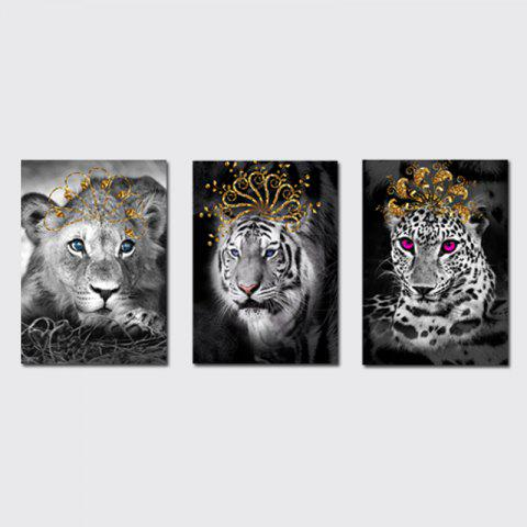 Outfit QiaoJiaHuaYuan No Frame Canvas Living Room Bedroom Triplets Wearing the Crown of Animals Decorated Hanging Pictures