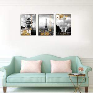 QiaoJiaHuaYuan No Frame Canvas Living Room Three Pieces of Sofa Background Decoration Hanging Painting Building Street V -