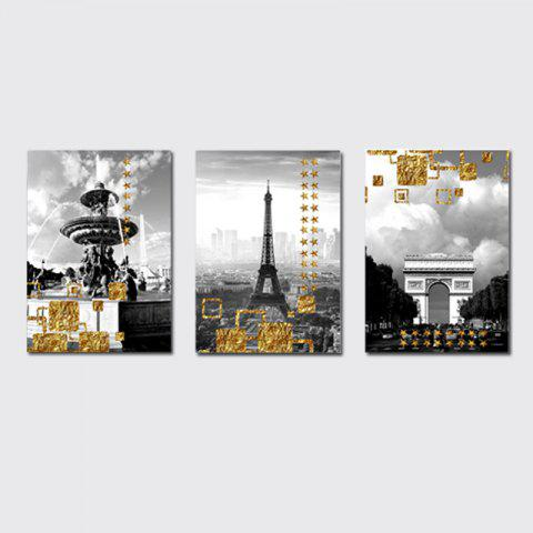 Unique QiaoJiaHuaYuan No Frame Canvas Living Room Three Pieces of Sofa Background Decoration Hanging Painting Building Street V