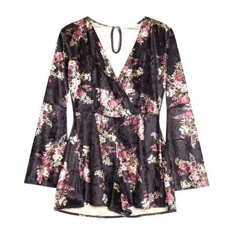 Shops New Lady V Collar Horn Sleeve Velvet Printed Romper