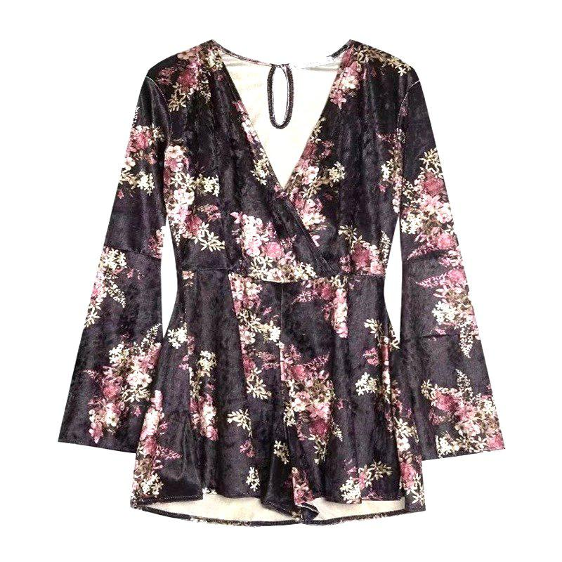 Chic New Lady V Collar Horn Sleeve Velvet Printed Romper