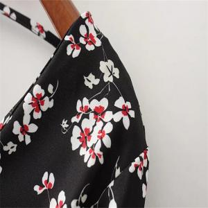 Printed Flounces with A Short V Neck Button Back Shirt -