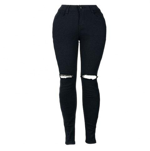 New High Waist Knee Hole Stretch Jeans