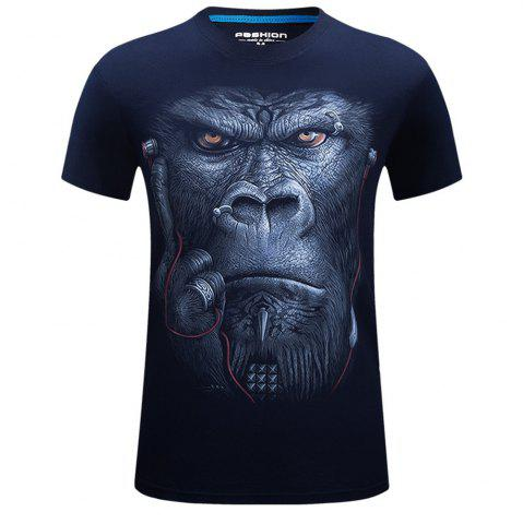 Hot 2018 Men's New 3D Ear Orangutans Round Collar Plus Size T-Shirt