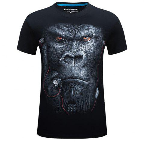 Latest 2018 Men's New 3D Ear Orangutans Round Collar Plus Size T-Shirt