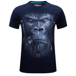 2018 Men's New 3D Ear Orangutans Round Collar Plus Size T-Shirt -