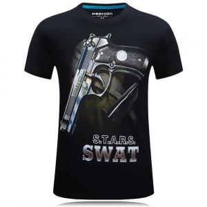 2018 Hommes New Summer 3D Print Plus Size T-shirt col rond mode -