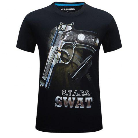 2018 Hommes New Summer 3D Print Plus Size T-shirt col rond mode