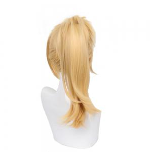 Blonde Long Straight Hair with Ponytail Synthetic Cosplay Lolita Style Capless Costume Wig -