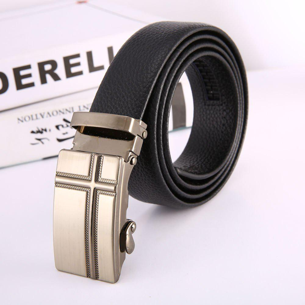 New Men'S Cross Steel Buckle Leather Belt