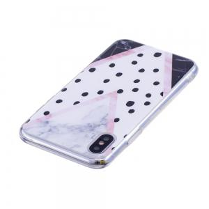 TPU Soft Case for iPhone X Black Spots Marble Style Back Cover -