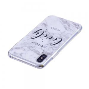 TPU Soft Case for iPhone X Lovely You Marble Style Back Cover -