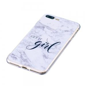 TPU Soft Case for iPhone 7 Plus / 8 Plus Girl Marble Style Back Cover -