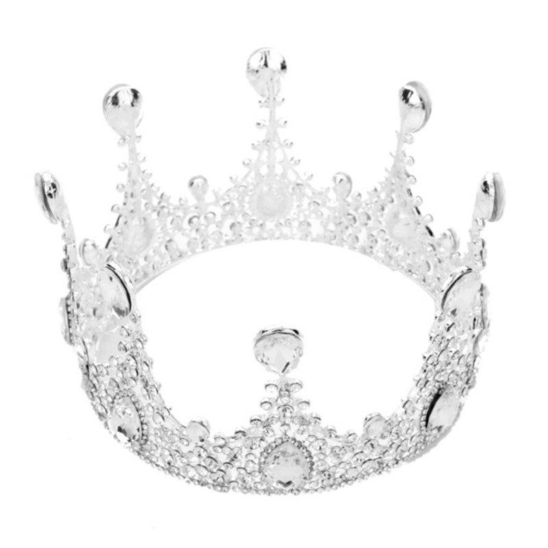 Store Silver Women Round Crown Crystal Rhinestone Bride Hair Jewelry Hair Accessories Tiara for Bridemaid