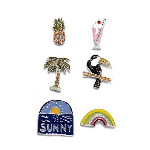 Hot Hot Spring Summer Brooch Set Lovely Enamel Flower Brooch Sunny Insect Rainbow 6PCS Set Brooches Women Jewelry