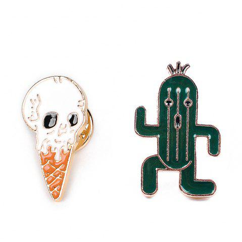 Affordable Cute Lapel Pin Enamel Ice Cream Cactus Brooch Plant Set Jewelry Brooches Clip Scarf Women and Female Jacket Gift