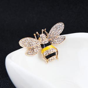 10 Designs New Honeybee with Crystal Design Brooches Lovely Bee Insect Pins for Women Jewelry New Year Gift -
