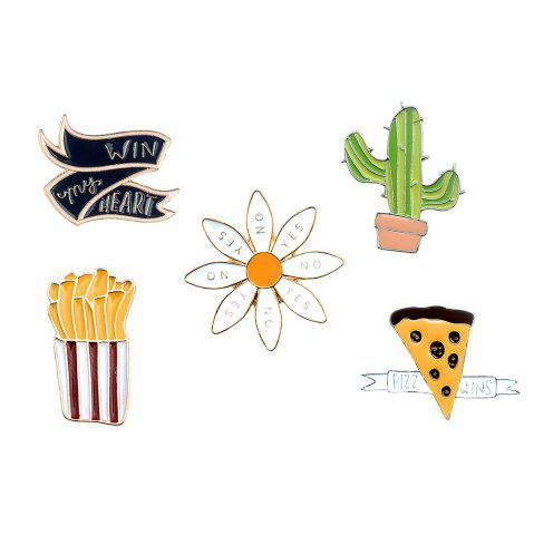 Chic Chips Cactus Pizza Icon Animated Brooches Set Brooch of A Scarf and Clothes As Women Jewelry Gift