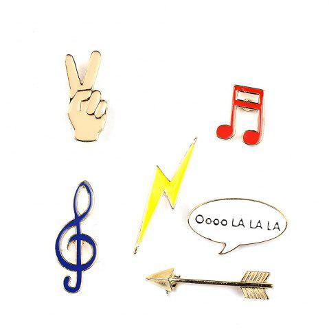 Trendy Victory Music Note Lightning Arrow Brooch Button Pins Jacket Denim Pin Badge Gift Fashion Jewelry for Women Men