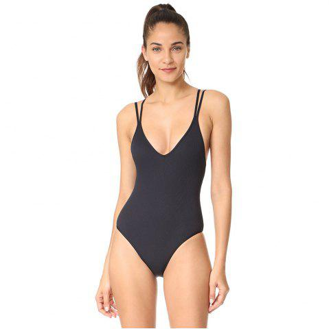 Best Conjoined Bikini Pure Color Corduroy Swimsuit