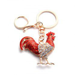 New Fashion Jewelry Animal 2017 Year Of The Rooster Oil Drop Style Keychains Crystal Chicken Alloy Cock Key Chains -