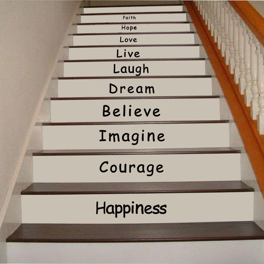 2019 quote wall sticker faith hope love staircase decorative decal. Black Bedroom Furniture Sets. Home Design Ideas