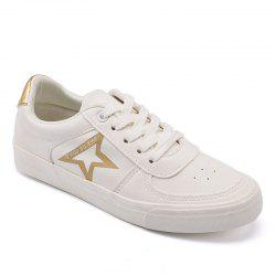 Women Canvas Lacing Design Star Pattern Casual Flat Shoes -