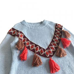 National Wind Tassel Loose Round Neck Sweaters -