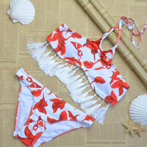 Print Triangular Split Bikini Set -