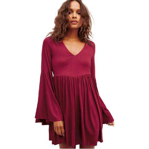 New Large-Sized Flare Sleeve V-Neck Dress