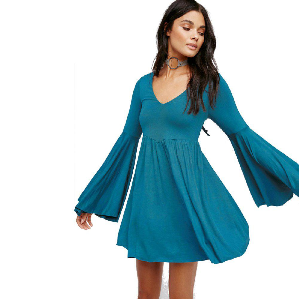 Affordable Large-Sized Flare Sleeve V-Neck Dress