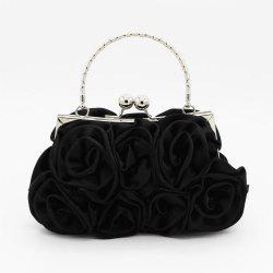 The silk flower with diamond evening clutch bag and wedding handbag -