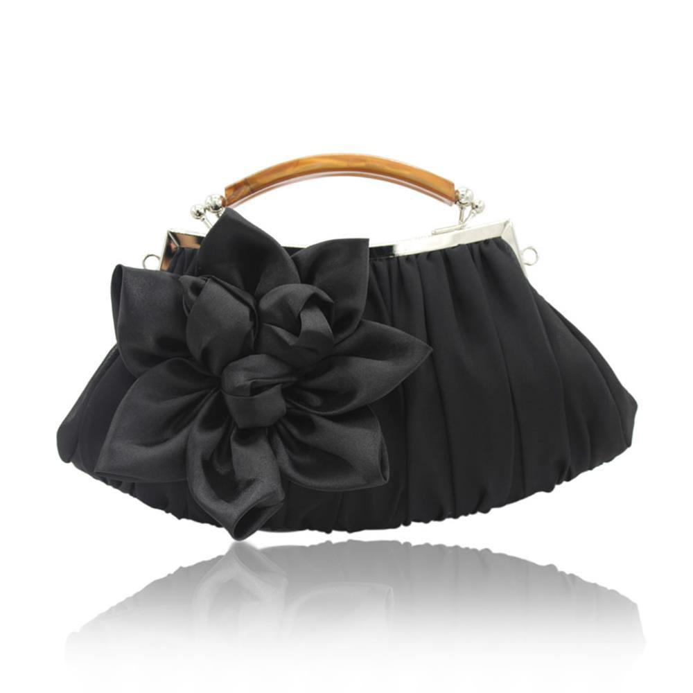 Fashion New Arrival Solid Bag Soft Party Top Solid Bag Hasp Wristlets Women Diamond Satin Flower Evening Tote