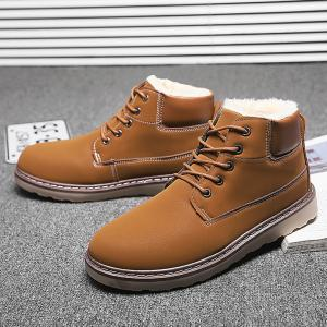 Men's Anke Boots Fashion Solid Color Lacing Tooling Shoes Antiskid Shoes -