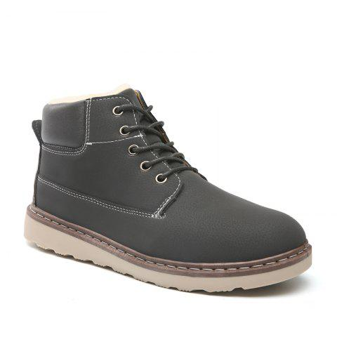 New Men's Anke Boots Fashion Solid Color Lacing Tooling Shoes Antiskid Shoes