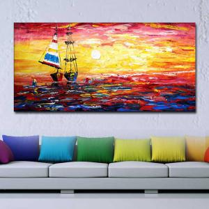 Hand Painted Abstract Sunset Sailboat Seascape Oil Painting on Canvas Home Wall Decoration No Frame -