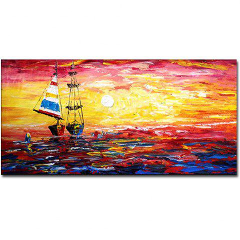 Outfit Hand Painted Abstract Sunset Sailboat Seascape Oil Painting on Canvas Home Wall Decoration No Frame