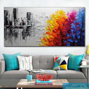 Hand Painted Modern Abstract Landscape OiL Painting on Canvas Livng Room Home Wall Decor No Framed -