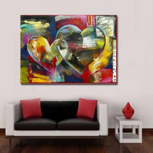 Modern Hand Painted Abstract Heart Sharp Oil Painting on Canvas Living Room Home Wall Decor No Frame -