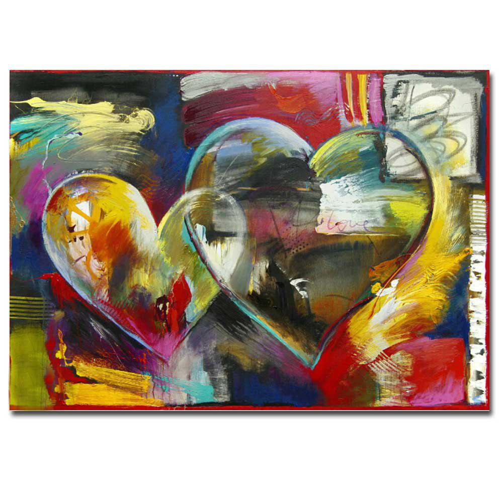 Trendy Modern Hand Painted Abstract Heart Sharp Oil Painting on Canvas Living Room Home Wall Decor No Frame