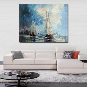 Hand Painted Abstract Sailboat Seascape Oil Painting on Canvas Living Room Bedroom Home Wall Decor No Framed -