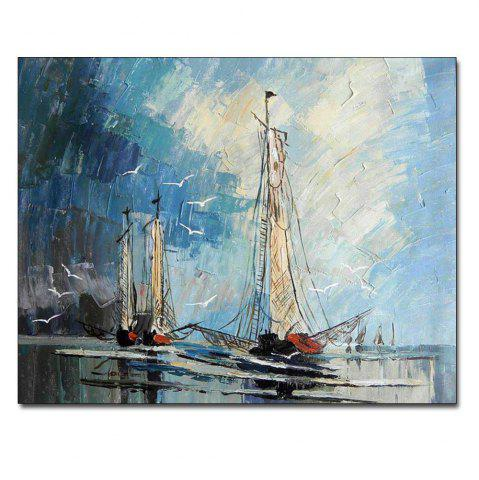 Fancy Hand Painted Abstract Sailboat Seascape Oil Painting on Canvas Living Room Bedroom Home Wall Decor No Framed