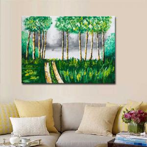 Hand Painted Abstract Forest Landscape Oil Painting on Canvas Wall Art Decoration No Framed -
